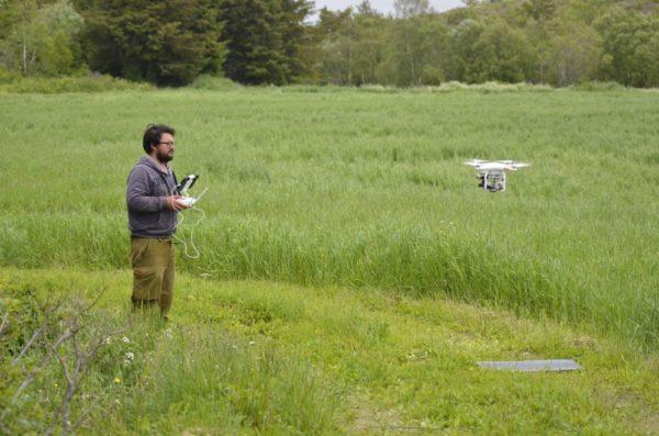 Her prøveflyr Thomas Vogler fra Høgskolen i Innlandet drone med termisk kamera i forbindelse prosjektet i Trøndelag. Foto: Simen Pedersen