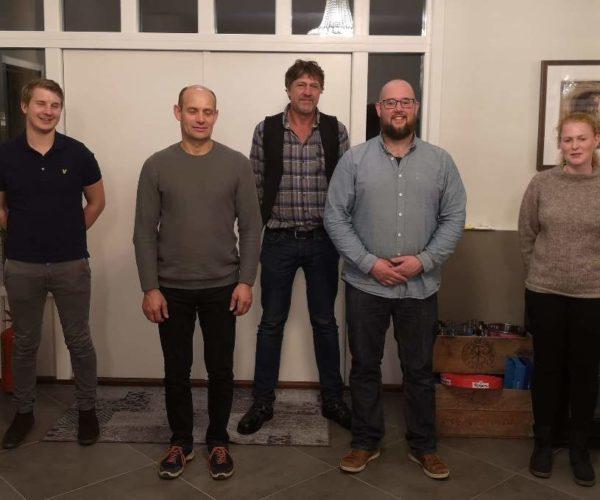 Det var gjenvalg på hele styret. Fra venstre Hans Wilhelm Wedel Jarlsberg, Tor Lid Wåle, Axel Holt, Anders Løverød (leder) og Elise Kirkevold